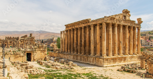 Baalbek, Lebanon - place of two of the largest and grandest Roman temple ruins, the Unesco World Heritage Site of Baalbek is a main attractions of Lebanon Canvas Print