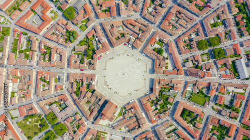 Palmanova, Udine, Italy. An exemplary fortification project of its time was laid down in 1593, Aerial View, HEAD OVER SHOT