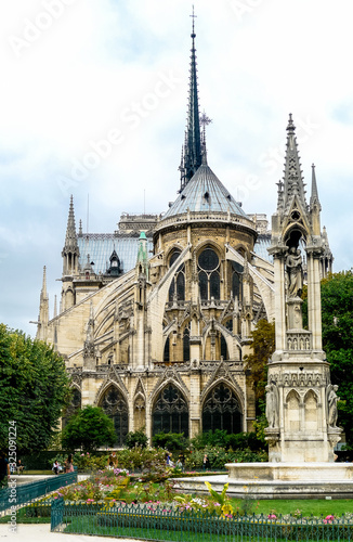Paris / France - August 13th, 2009: Rear view of Notre-Dame de Paris with its ap Wallpaper Mural