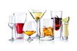 canvas print picture - verschieden Gläser mit alokoholischen Getränken isoliert auf weiß