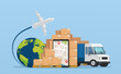 Online service postal logistic service or courier delivery concept. Truck with warehouse packages parcels, mobile phone with map city and tracking order. Air and transportation of goods.