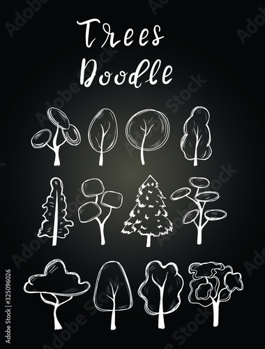 Fototapety, obrazy: Trees chalk vector nature isolated design elements on black background . Concept for logo, cards, icon