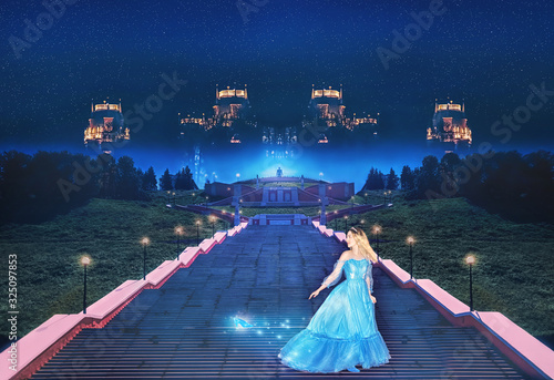 Beautiful princess Cinderella runs away from the ball and lost her crystal slipper Fototapet