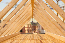 Roof Truss With Wooden Beams In A New Building