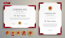 Red And Gold Certificate Of Achievement Border Template With Luxury Badge And Modern Line Pattern. For Award, Business, And Education Needs
