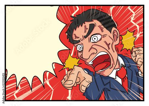 Fotografia 激怒 中年男性 上司 怒る 怒鳴る フキダシ マンガ風