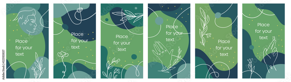 Fototapeta Vector set of social media stories linear style. Template stories copy space for text. Modern abstract backgrounds for banners. Flowers, plants and girl face. Green and turquoise palette