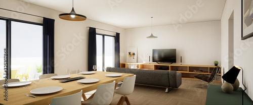 Fototapeta vue intérieur grande pièce de vie appartement 3d 01