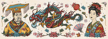 Ancient China. Old School Tattoo Vector Collection. Chinese Dragon, Emperor, Queen In Traditional Costume, Fan, Red Lantern, Lotus Flower. History And Culture. Asian Art. Traditional Tattooing Style