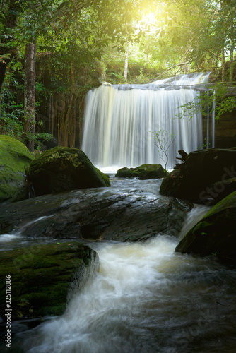 Beautiful waterfall in forest, Thailand.