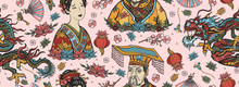 China Seamless Pattern. Old School Tattoo Vector Collection. Chinese Dragon, Emperor, Queen In Traditional Costume, Fan, Red Lantern, Lotus Flower. Ancient History And Culture. Asian Background