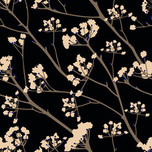 Blooming Of Trees On A Black Background.Vector Pattern