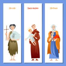 Set Of 3 Universal Greeting Cards  And Bookmarks With Saint Anthony, Saint John, Saint Peter (Santo Antônio, São João, São Pedro). Template.