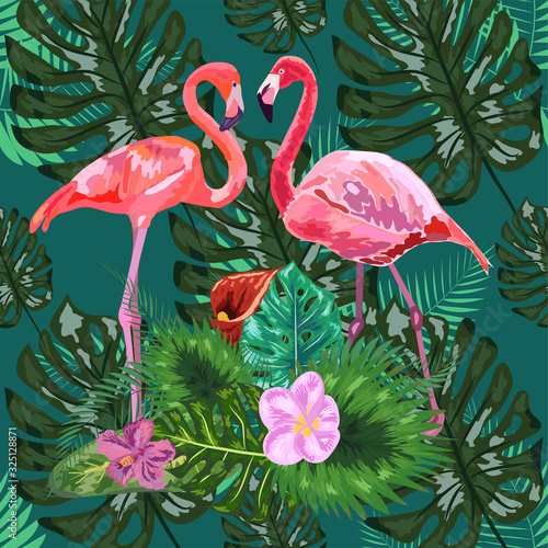 Pink flamingos, tropical flowers and jungle leaves, hibiscus, pink lotus. Beautiful seamless floral jungle pattern background © MichiruKayo