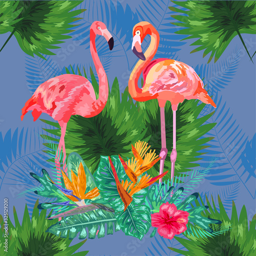Tropical trendy seamless pattern with pink flamingos and mint green palm leaves. © MichiruKayo