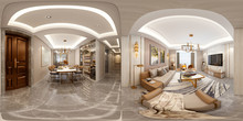 3d Render Of 360 Degrees Home ...