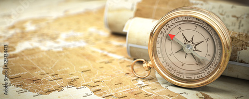 Fotografie, Tablou Compass on vintage old map
