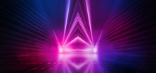 Dark Background With Lines And Spotlights, Neon Light, Night View. Abstract Pink Background.