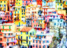 Impressionnisme. Gros Plan Sur La Ville De Manarola.Italie