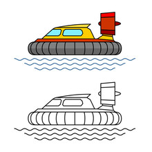 Hovercraft Boat Side View Illustration. Hover Craft Vehicle With Sea Waves. Adjustable Stroke Width.