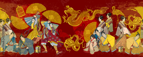 Cuadros en Lienzo Golden dagon, samurai and geishas