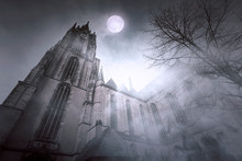 Old Gothic Church With Moonlight And Foggy Night In Frankfurt In Germany