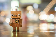 Retro Wood Robot With Light Bu...