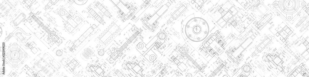 Fototapeta Technical drawing background .Mechanical Engineering background . . Technology Banner.Vector illustration .