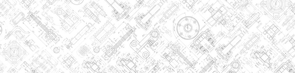 Technical drawing background .Mechanical Engineering background . . Technology Banner.Vector illustration .