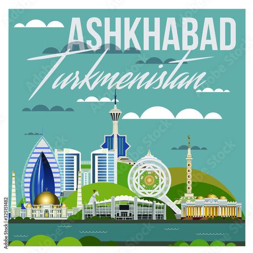 sights of the city of Ashgabat in Turkmenistan Wallpaper Mural