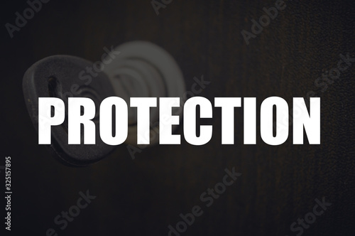 Protection word with blurring business background Canvas Print