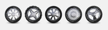 Realistic Tires Set. Truck Whe...