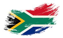 South African Flag Grunge Brush Background. Vector Illustration.