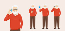 Handsome Senior Man With Phone Isolated Vector Illustration