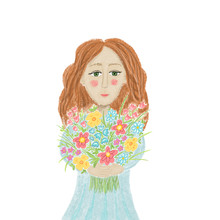 Girl In The Blue Dress With The Bouquet Of  Wild Flowers, Greeting Card, Poster, Invitation