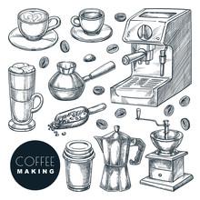 Coffee Making Icons Set. Vecto...