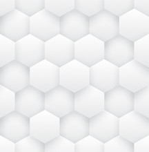 3D Vector Hexagons White Abstr...