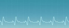 Blue Background With Ecg Line....