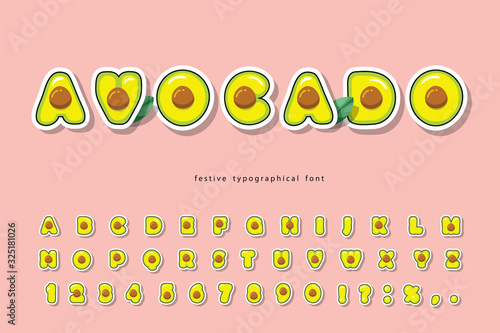 Avocado summer trendy font. Cartoon paper cut out alphabet. Natural healthy food concept. Cute funny letters and numbers on pink. For poster, banner, T-shirt, brochure design. Vector