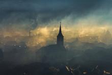 Church Silhouette Misty Villag...