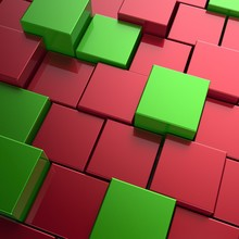 3D Rendering Abstract Background Of Red And Green Cubes