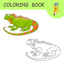 Coloring Cute Cartoon Iguana. Coloring Book Or Page Cartoon Of Funny Reptile For Kids. Cute Colorful Fauna Animal As An Example For Coloring Book. Practice Worksheet For School And Kindergarten.Vector