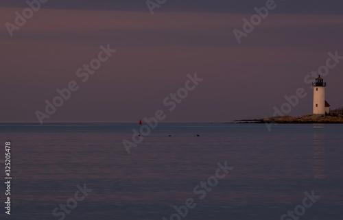 Annisquam Lighthouse at sunset - Gloucester, Massachusetts. Fototapeta