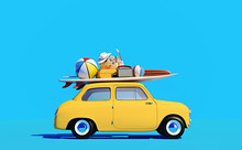 Small Retro Car With Baggage, ...