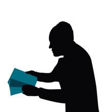 A Man Reading Book, Silhouette Vector