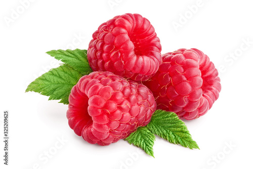 Leinwand Poster Ripe raspberries with leaf isolated on a white background