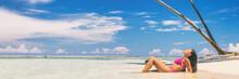 Beach Suntan Bikini Woman Sunb...