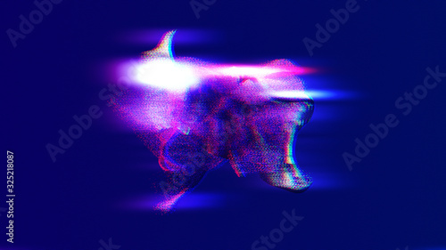 Neon synthwave retrowave pink and purple duotone background with chromatic aberr Canvas Print