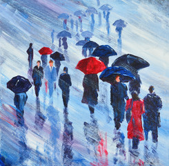 Panel Szklany Współczesny Acrylic Painting of People walking in the rain with umbrellas