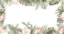 Tropical Summer Hibiscus, Strelitzia Flower, Palm Leaves, Vintage Floral Frame. Exotic Illustration.